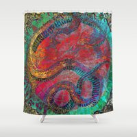 chinese Shower Curtains featuring Chinese Dragon  by jbjart