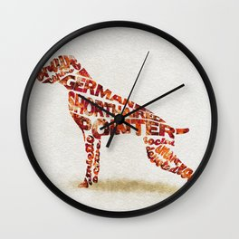 German Shorthaired Pointer Typography Art / Watercolor Painting Wall Clock