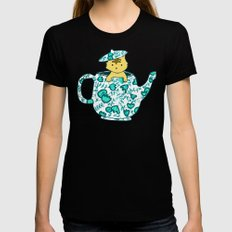 Dinnerware sets - Kitten in a teapot Black LARGE Womens Fitted Tee