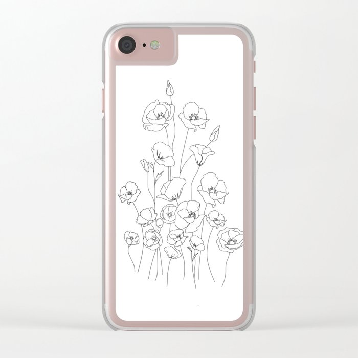 Poppy Flowers Line Art Clear iPhone Case