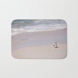 Lone African Penguin on Cape Town beach Bath Mat