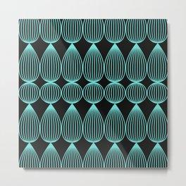 Striped drops in neon teal Metal Print