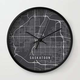 Saskatoon Map, Canada - Gray Wall Clock