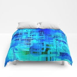 Vibrant Blue and Turquoise Line Abstract Comforters