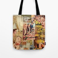 meat Tote Bags featuring Meat Ladies by Katie Anderson Art