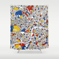 london Shower Curtains featuring London by Mondrian Maps