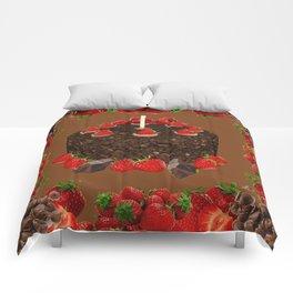 CHOCOLATE & STRAWBERRIES  BIRTHDAY CAKE Comforters