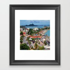 Colorful island and city scenes of Sint Maarten - St. Martin Framed Art Print