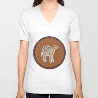 camel V-neck T-shirts featuring camel by johanna strahl