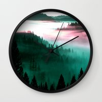 mountains Wall Clocks featuring Misty Mountains Morning : Magenta Mauve Teal by 2sweet4words Designs