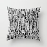 Hand Knit Grey Black Throw Pillow