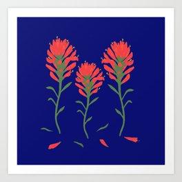 Floral-Indian Paintbrush-Blue Art Print