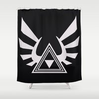 triforce Shower Curtains featuring triforce by Black