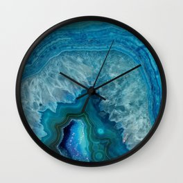 Blue agate marble faux druse crystal quartz gem gemstone geode mineral stone photograph hipster Wall Clock