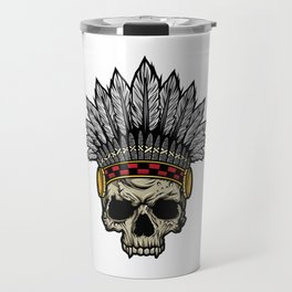Indian Warrior Skull Is Ready For Battle With His Feathered Headdress And War Paint T-shirt Design Travel Mug