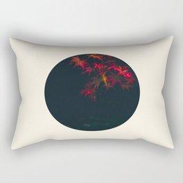 Red Maple Against Black Background Round Photo Rectangular Pillow
