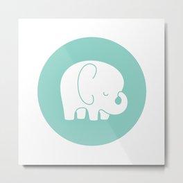 Mod Baby Elephant Teal Metal Print