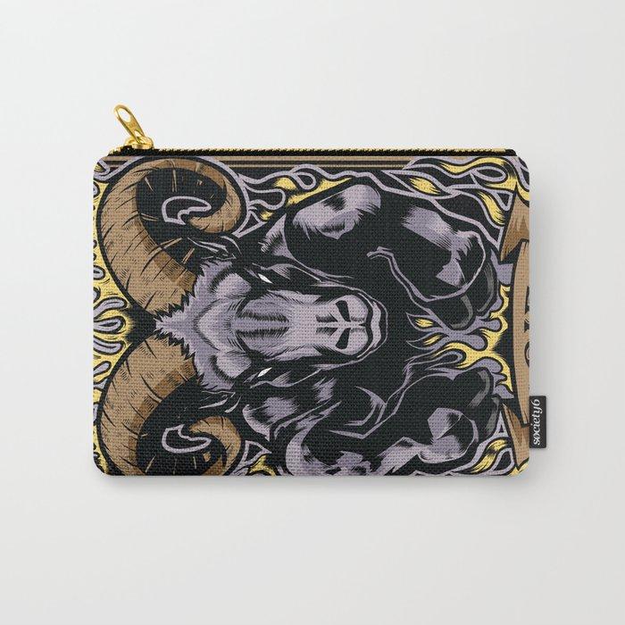 Aries Zodiac Sun Sign Ram Fire Astrology Carry-All Pouch by bsanczel