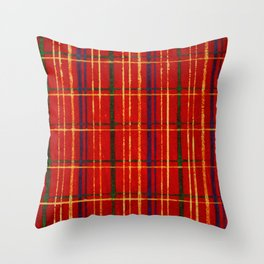 Squares On Red Background Japanese Shima-Shima Pattern Throw Pillow