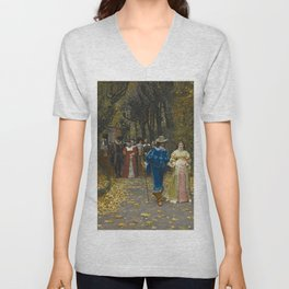 The Lovers (Les Fiances) Amazing Landscape Painting by Firmin-Girard Unisex V-Neck