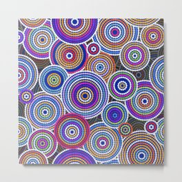 Colorfull Aboriginal Dot Art Pattern Metal Print