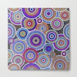 Colorfull Aboriginal Dot Art Pattern Metal Print