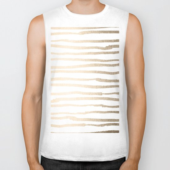 White Gold Sands Painted Lines Biker Tank