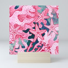Pink Starfish and coral watercolor reef Mini Art Print