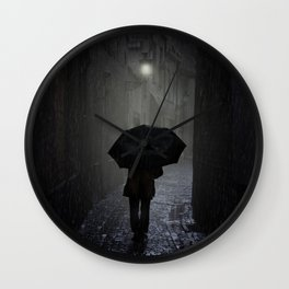 Night walk in the rain Wall Clock