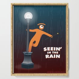 seein' in the rain Serving Tray