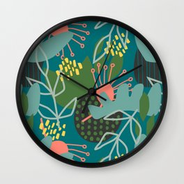 Cut Paper Floral - Teal Wall Clock