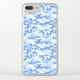 Military Camouflage Pattern - Blue White Clear iPhone Case