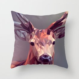 Colorful Polygons Abstract Deer Throw Pillow