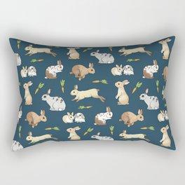 Rabbits on navy background Rectangular Pillow