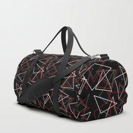 Abstract red black and white pattern . Triangles Duffle Bag