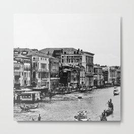 Along the Grand Canal b&w Metal Print