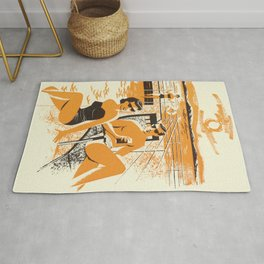 Romantic lovely couple on the sunny beach - vintage hand drawn poster illustration Rug