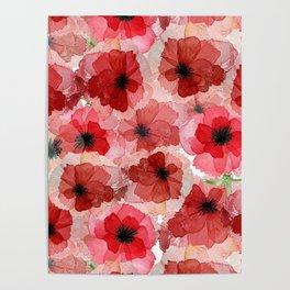 Pressed Poppy Blossom Pattern Poster