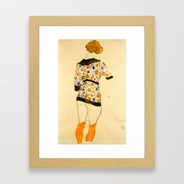 "Egon Schiele ""Standing Woman in a Patterned Blouse"" Framed Art Print"