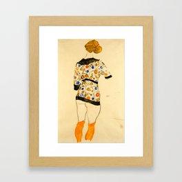"""Egon Schiele """"Standing Woman in a Patterned Blouse"""" Gerahmter Kunstdruck"""