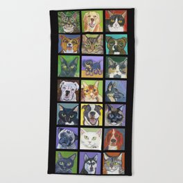 Cats and Dogs in Black Beach Towel