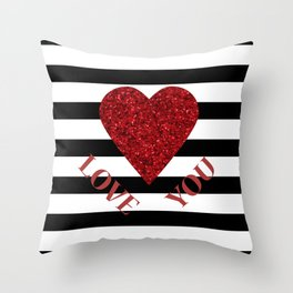 LOVE YOU Valentine print. Red glitter heart and black stripes congratulation card Throw Pillow