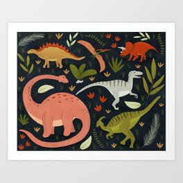 Dinos in the night Art Print
