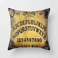 ouija Throw Pillows featuring Ouija Board by Lostfog Co.