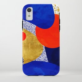 Terrazzo galaxy blue night yellow gold orange iPhone Case