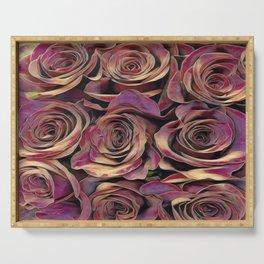 Golden Burgundy Rose Love Serving Tray