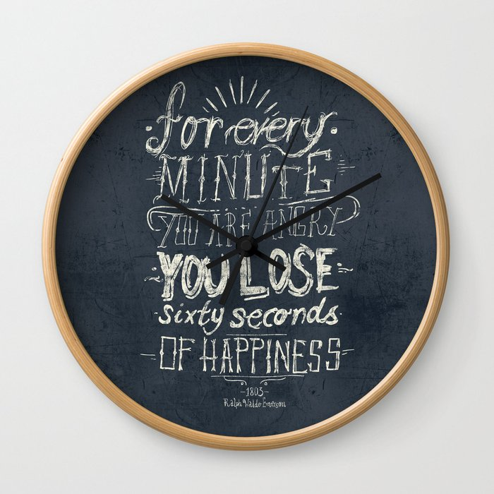 For every minute you are angry you lose sixty seconds of happiness  Wall Clock