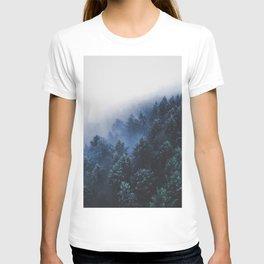 Foggy Blue Purple Mountain hill Pine Trees Landscape Nature Photography Minimalist Modern Art T-shirt