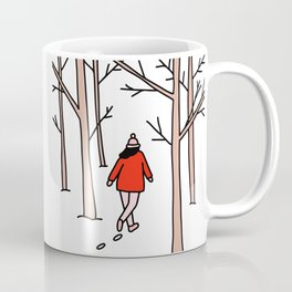 Girl Walking Through the Woods Coffee Mug