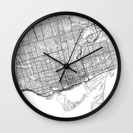 Toronto Map White Wall Clock